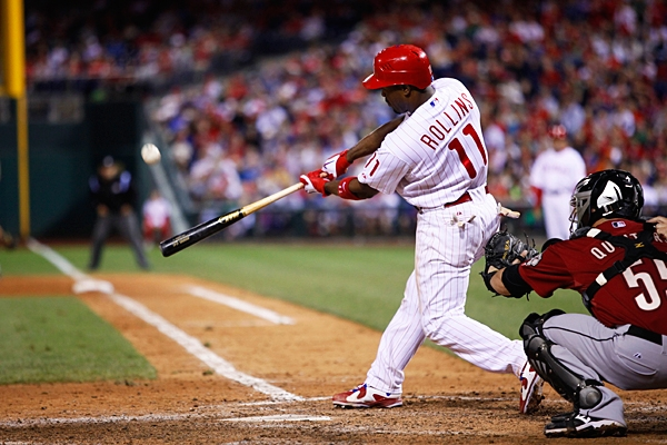 Rollins can drive the ball into the right field seats at Citizens Bank Park.