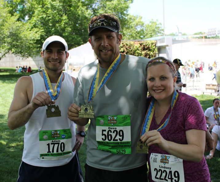 Dave Sikorski with children, Adam, a school principal in the Pittsburgh area, and Lindsey, who works at Mansfield University. They had just run the Pittsburgh Marathon together.