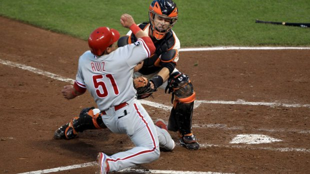 The Giants Buster Posey is blocking the plate against Chooch. As long as he had the ball, it's a legal play.