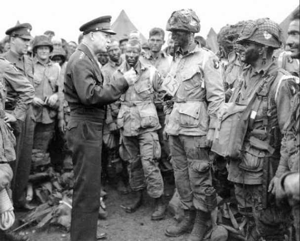 General Eisenhower giving the 82 Airborne a pep-talk before the Battle of the  Bulge.